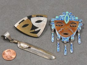 Lot (3) Mexican And Southwest Sterling Pin/brooches And