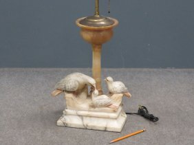 """Carved Alabaster Table Lamp With Doves. Height 27"""""""