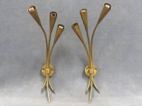 "Pair Karl Springer Style ""sheet"" Brass Wall Sconces."