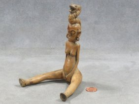 Meso-american Carved Wood Seated Figure With Serpent