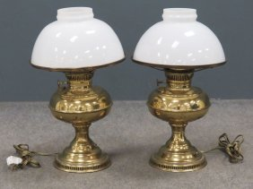 Pair Rayo Brass Pedestal Oil Lamps, Electrified. Height
