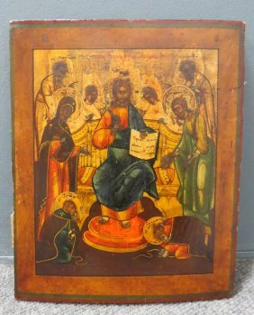 Russian Icon On Wood Panel, Jesus Enthroned, 19th
