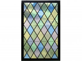 "Vintage Leaded Glass Window. 46 X 29"""