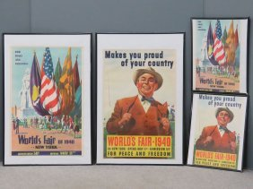 Lot (4) 1939/40 New York World's Fair Lithographic