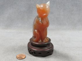 Chinese Carved Agate Seated Cat With Boxwood Stand.