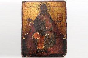 Greek Icon On Wood Panel, St. Nickolas, 19th Century.