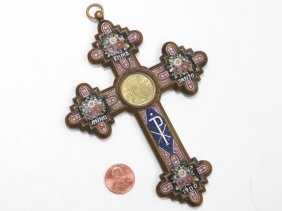 Italian Gilt Bronze, Micro Mosaic Cross With Brass