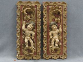 Pair Continental Renaissance Style Carved, Polychrome