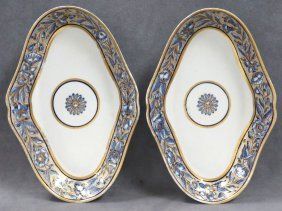Pair Chinese Export Shaped Oval Dishes, 18/19th