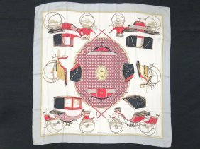 """Hermes Silk Scarf, """"les Voitures A Transformation"""","""