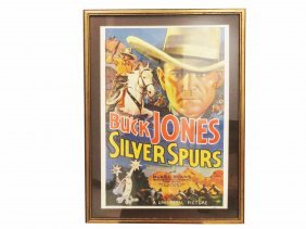 Lithographic Theater Poster, Buck Jones, Silver Spurs.