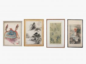 Chinese School (20th Century) Lot (4) Works On Paper