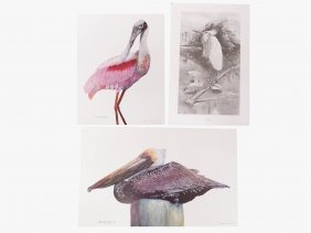 Lot (3) Lithographs, Wildlife Including (2) By Natalie