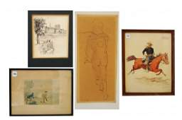 LOT 4 INCLUDING ORIGINAL HAND COLORED LITHOGRAPH