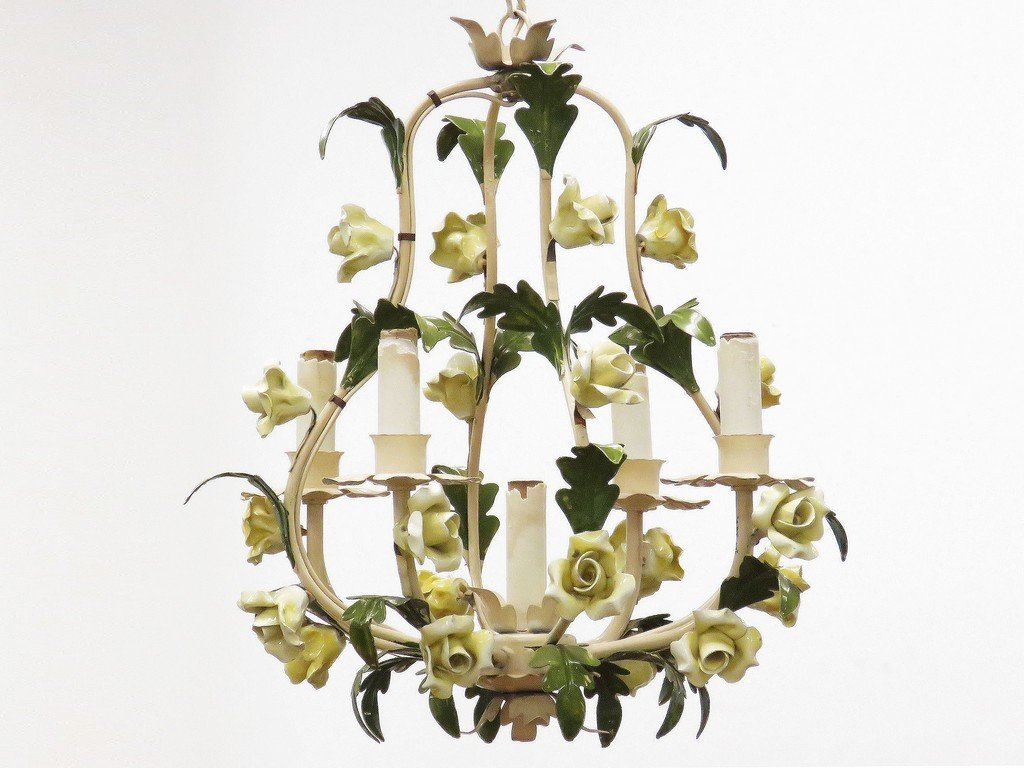 """FRENCH STYLE PAINTED METAL CHANDELIER. HEIGHT 20"""""""