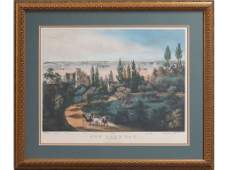 CURRIER AND IVES PUBLISHERS HAND COLORED LITHOGRAPH