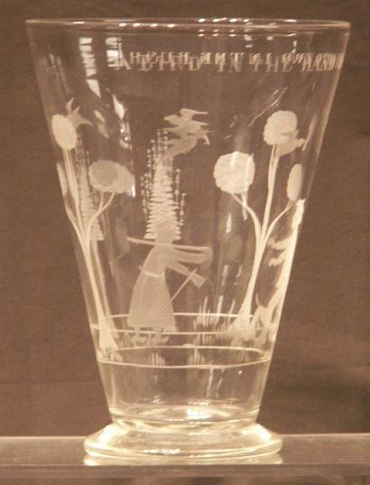 1005: FLINT GLASS ENGRAVED VASE