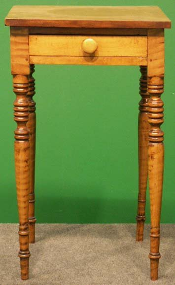 1011: FEDERAL TIGER MAPLE SINGLE-DRAWER WORK STAND