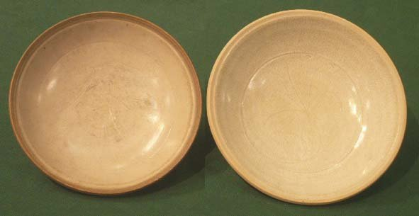 1013: LOT (2) SONG GINGBAI CARVED BOWLS