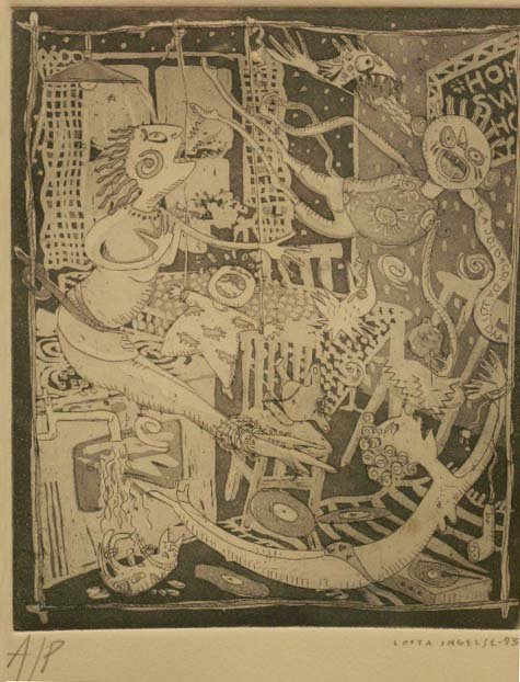 1016: ETCHING, INTERIOR WITH FIGURES, INGELSE