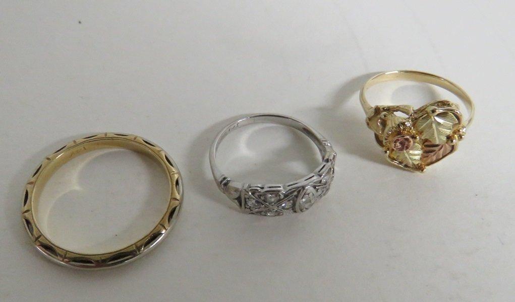 LOT (3) 14K GOLD & PLATINUM RINGS TWT 7.55 GRAMS