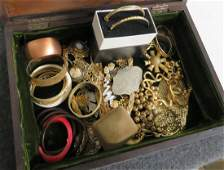 DOCUMENT BOX WITH ASSORTED COSTUME JEWELRY INCLUDING