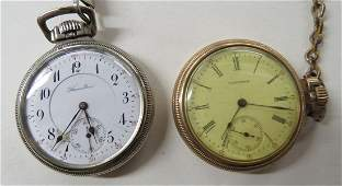LOT (2) VINTAGE OPEN-FACE POCKET WATCHES INCLUDING