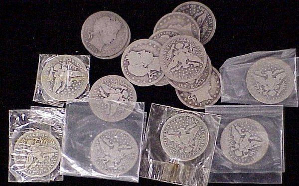 6: ASSORTED BARBER SILVER QUARTERS 1897-1914-
