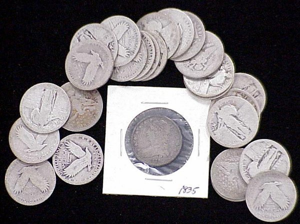 9: LOT (26) ASSORTED SILVER QUARTERS