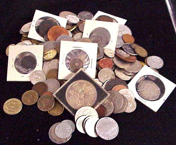 22: LOT ASSORTED FOREIGN COINS & CURRENCY