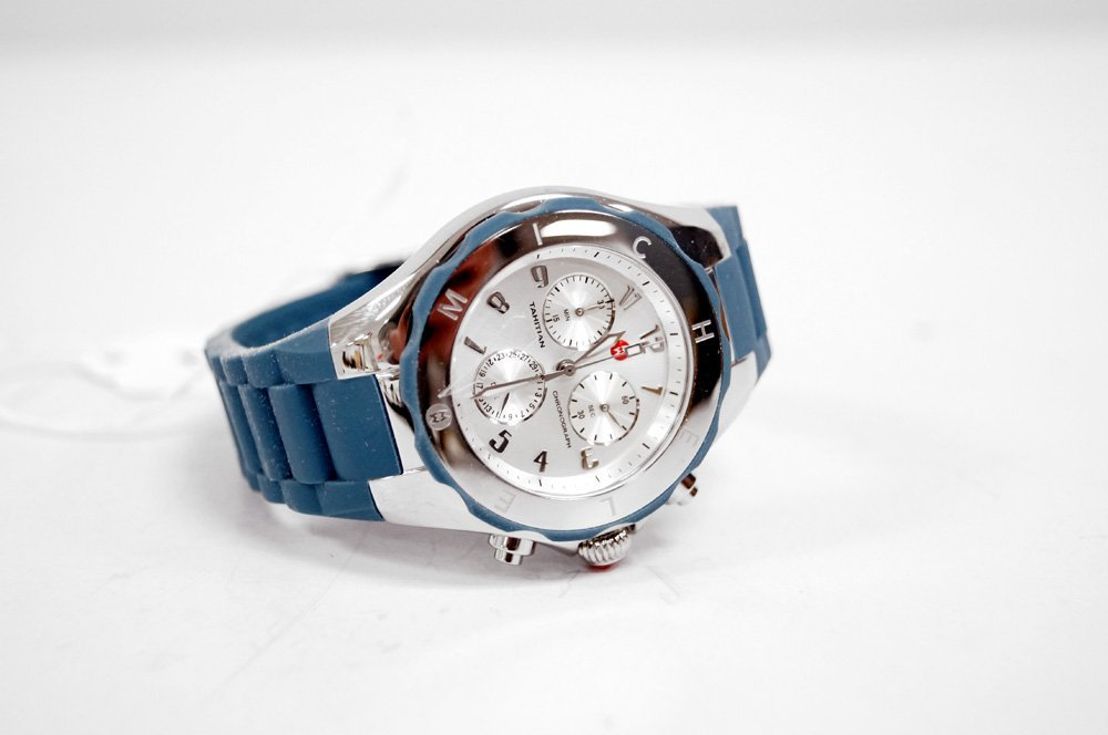 MICHELE STAINLESS TAHITIAN BLUE JELLY BEAN QUARTZ