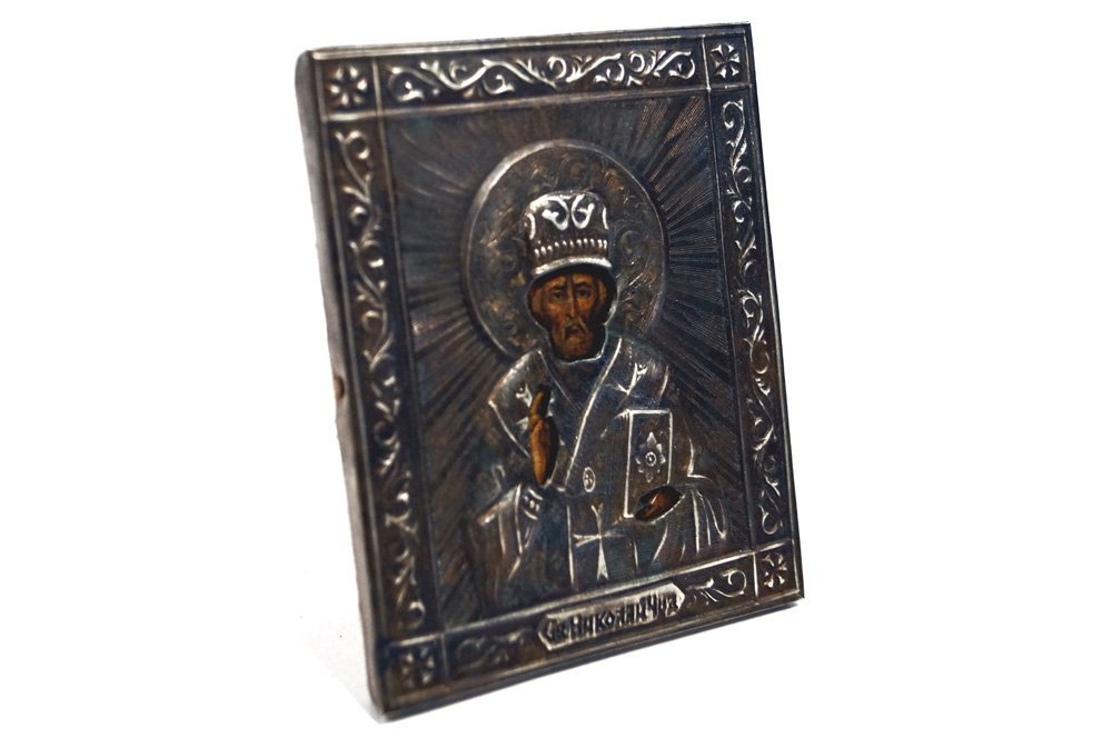RUSSIAN TRAVELING ICON WITH SILVER OKLAD AND