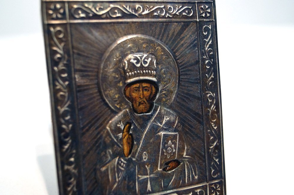 RUSSIAN TRAVELING ICON WITH SILVER OKLAD AND - 2