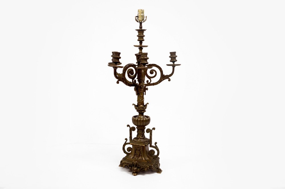 CONTINENTAL BRONZE CANDELABRA/LAMP. HEIGHT 28""