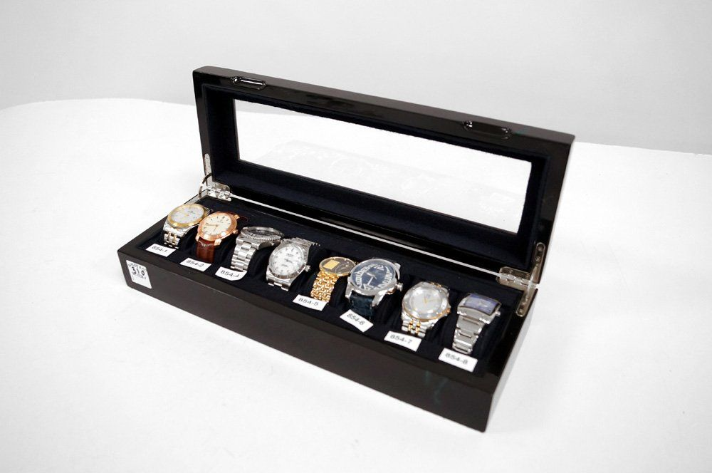 LOT INCLUDING LACQUERED WRISTWATCH CASE WITH (8)