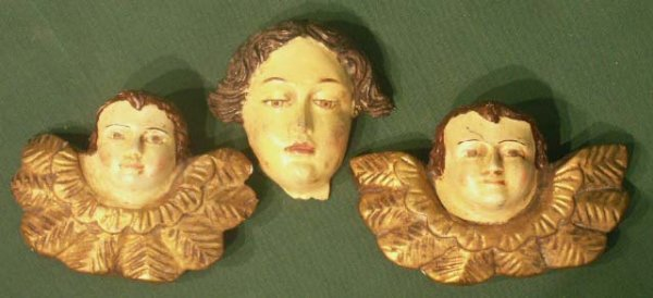 5: LOT (3) SPANISH COLONIAL CARVED ANGEL HEADS