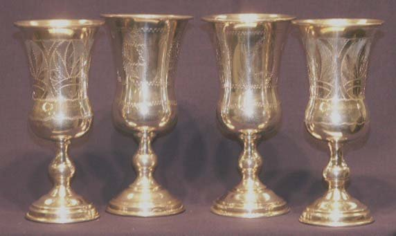 6: LOT (4) STERLING SILVER KIDDISH CUPS