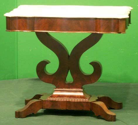 7: EMPIRE MAHOGANY MARBLE-TOP CENTER TABLE
