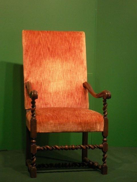 11: CHARLES II STYLE CARVED WALNUT ARMCHAIR