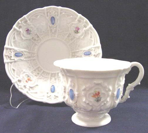 13: MEISSEN DECORATED PORCELAIN CUP/SAUCER