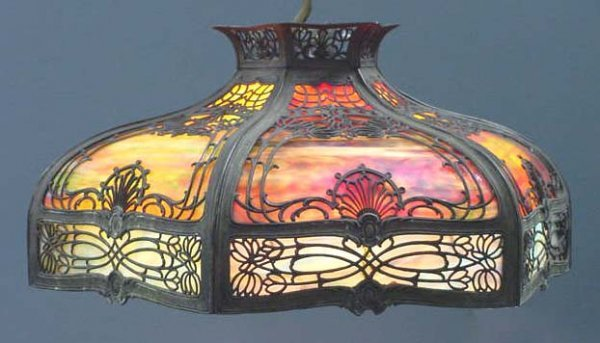 15: ART DECO SLAG GLASS SHADE