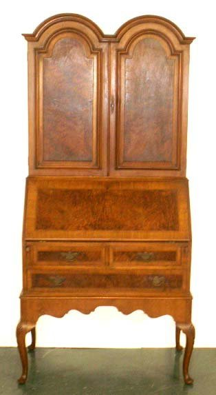 23: QUEEN ANNE STYLE CARVED & INLAID SECRETARY