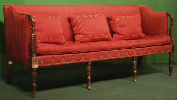 47: SHERATON CARVED & INLAY MAHOGANY 6-LEG SOFA
