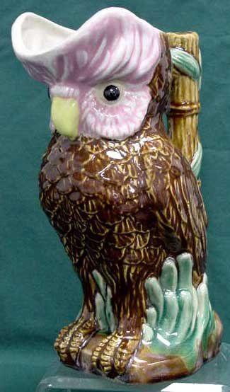 MAJOLICA OWL-FORM PITCHER