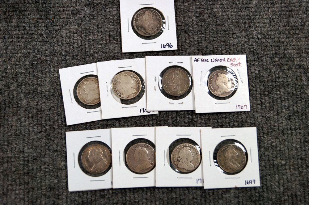 LOT (9) ENGLISH SILVER SHILLINGS, VARIOUS DATES: