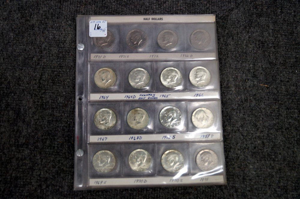 LOT (55) ASSORTED KENNEDY HALF DOLLAR COINS, 1964 TO