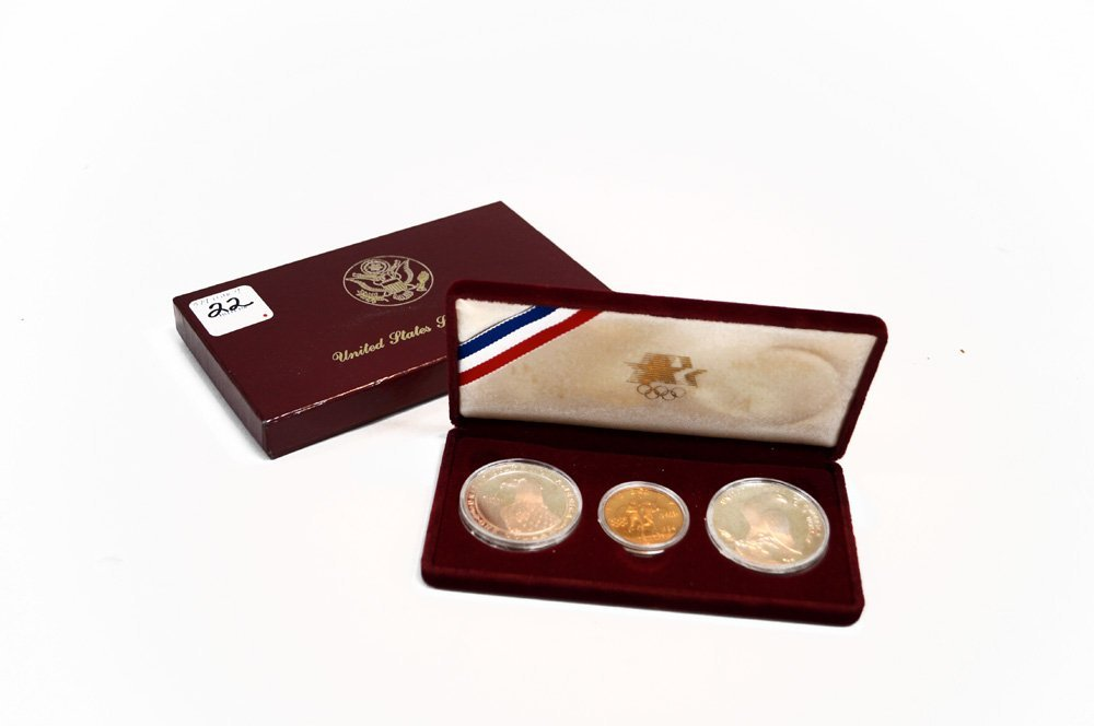 1983 OLYMPICS 3-COIN PROOF SET INCLUDING 1983/84 SILVER