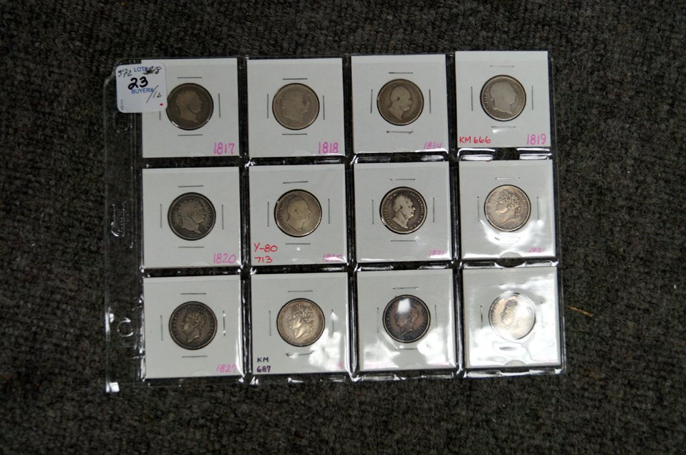 LOT (12) ENGLISH SILVER SHILLINGS DATED 1817 THROUGH