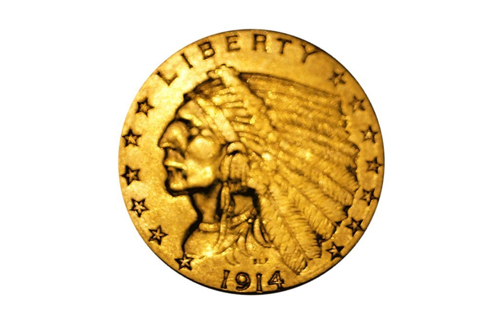 1914-D INDIAN HEAD $2.50 GOLD COIN (XF)