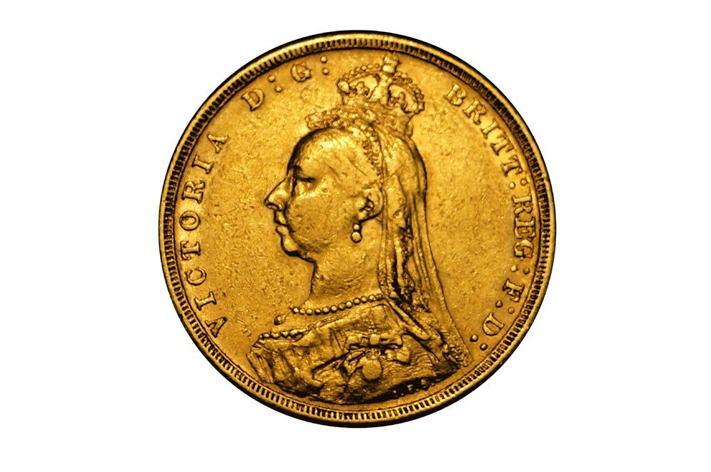 1888 ENGLISH VICTORIA GOLD FULL SOVEREIGN COIN, 22 MM